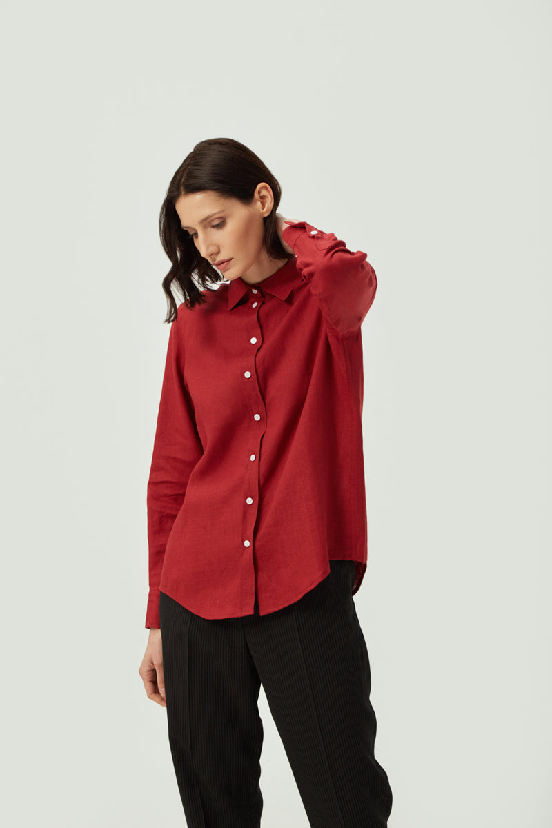 Classic Red Linen Shirt | Effortless High Quality Clothing by Esyvte