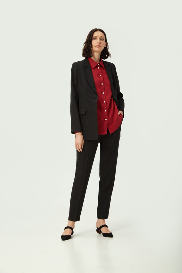 Double Breasted Black Striped Wool Blazer