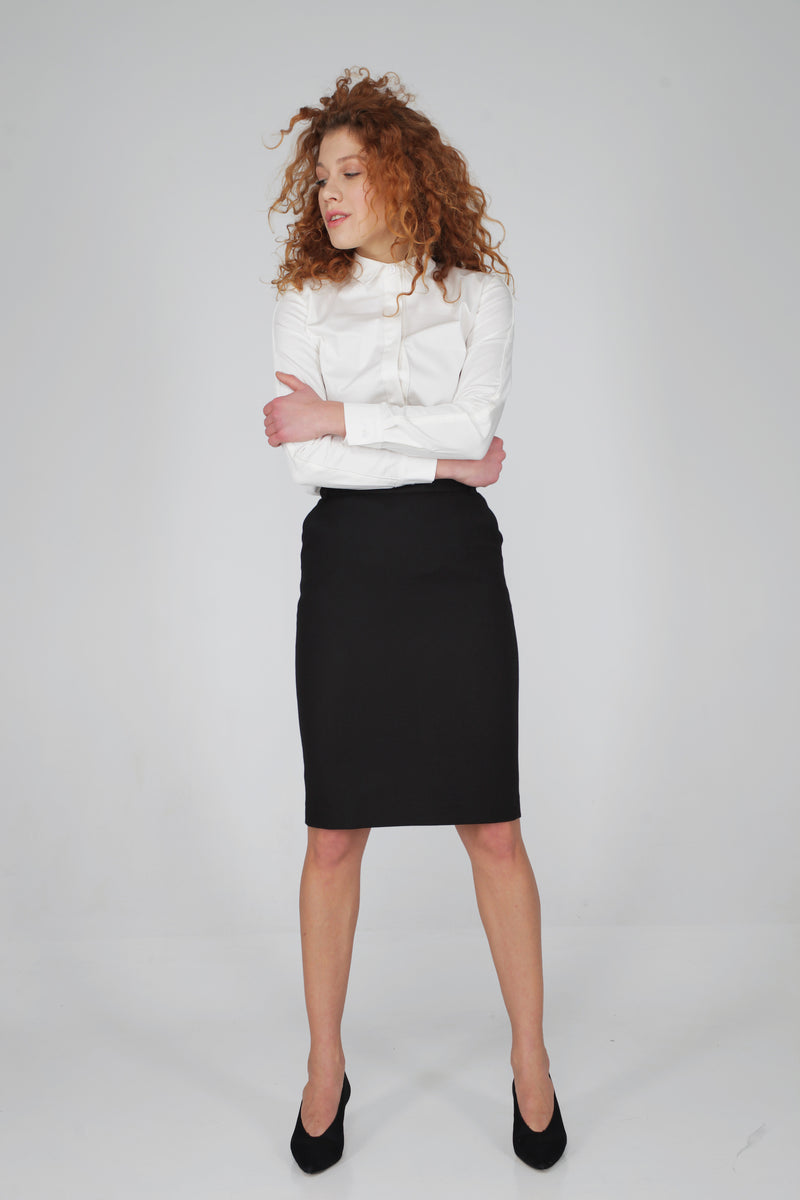 High Waist Stretch Skirt with Pockets
