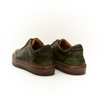 GREEN LEATHER LOW TOP SNEAKER SHOE