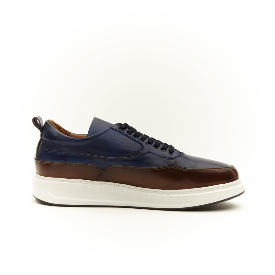 CHOCOLATE BROWN AND NAVY LACE UP SNEAKER SHOE