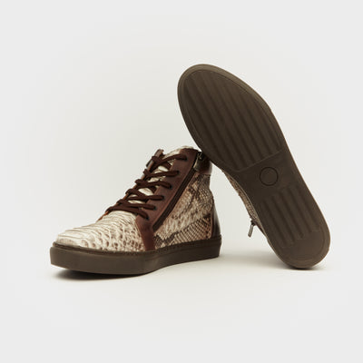 BROWN PYTHON LEATHER HIGH TOP SNEAKER SHOE