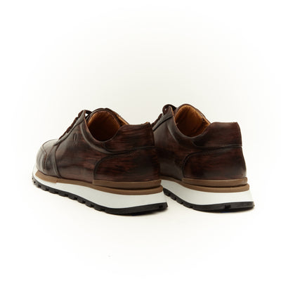 DARK BROWN LEATHER LOW TOP SNEAKER SHOE