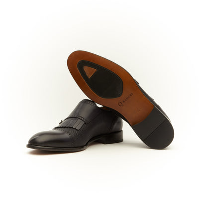 BLACK SPIRO MONK BUCKLE LOAFERS
