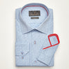 SLIM FIT LONG SLEEVE LIGHT BLUE BRUSSELS PRINT COTTON SHIRT