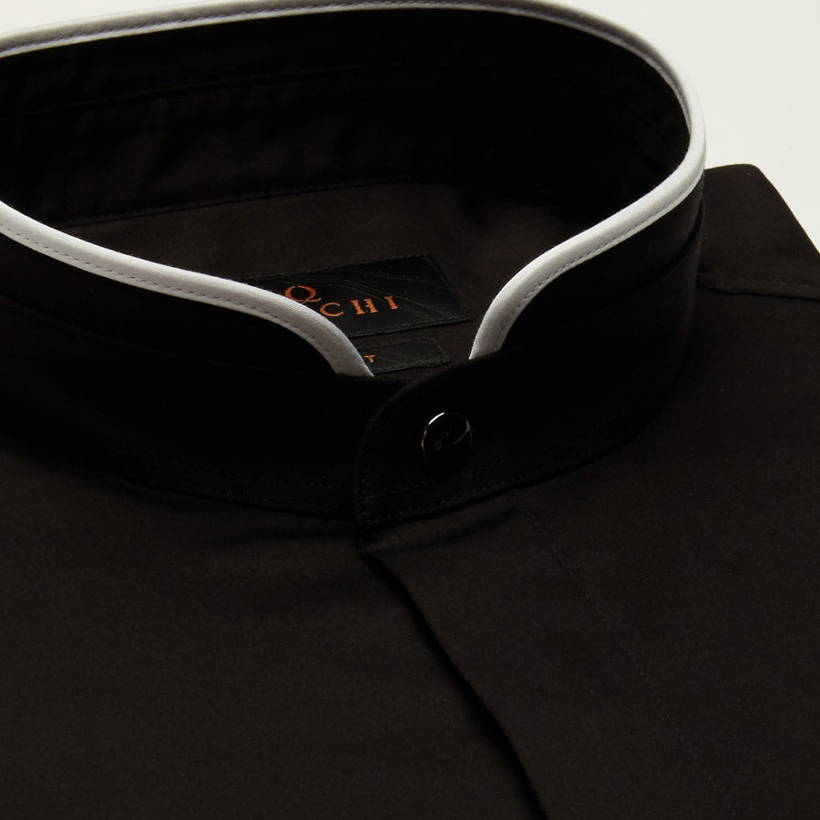 SLIM FIT LONG SLEEVE DARK BROWN TOKYO COTTON SHIRT