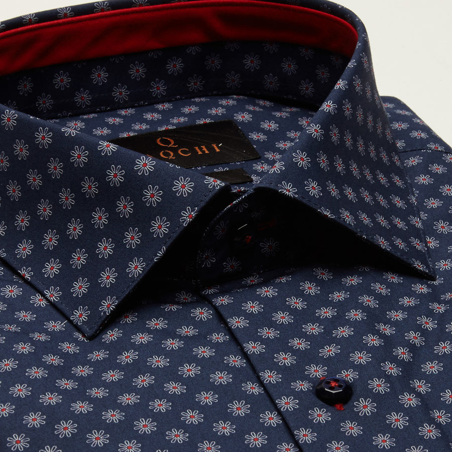 SLIM FIT LONG SLEEVE FLORAL PRINTED BLUE MADRID COTTON SHIRT