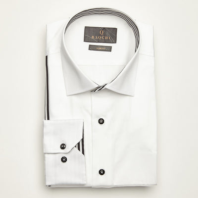 SLIM FIT LONG SLEEVE WHITE ATHENS COTTON SHIRT