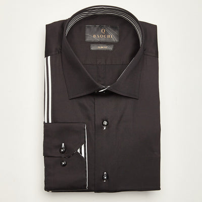 SLIM FIT LONG SLEEVE DARK BROWN BERLIN COTTON  SHIRT