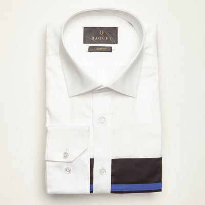 SLIM FIT LONG SLEEVE WHITE MONTEVIDEO COTTON SHIRT
