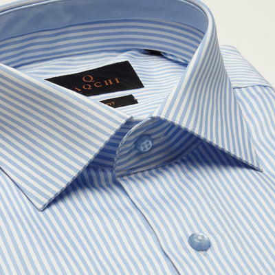 SLIM FIT LONG SLEEVE BLUE MONTGOMERY COTTON  SHIRT
