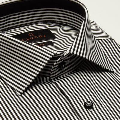SLIM FIT LONG SLEEVE STRIPE INDIANA COTTON SHIRT