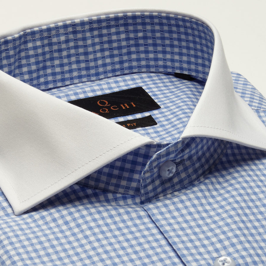SLIM FIT LONG SLEEVE BLUE GINGHAM ORLANDO COTTON SHIRT