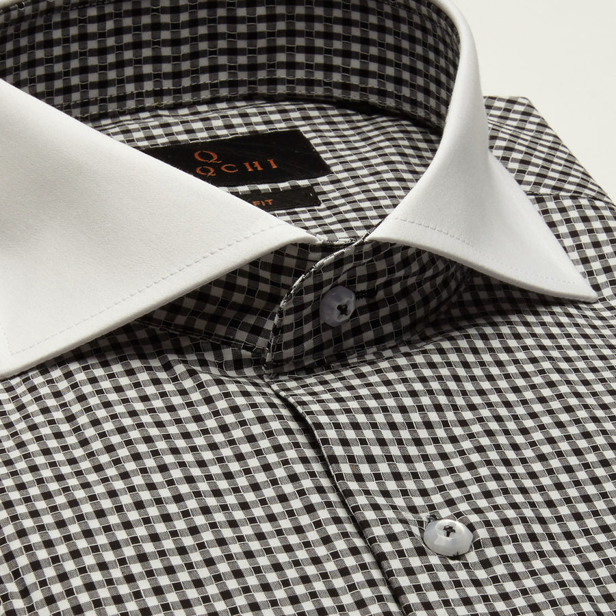 SLIM FIT LONG SLEEVE BLACK GINGHAM PRINT AUSTIN COTTON SHIRT