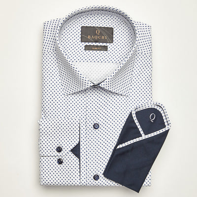 SLIM FIT LONG SLEEVE BLUE PIN HEART PRINT ROME COTTON SHIRT