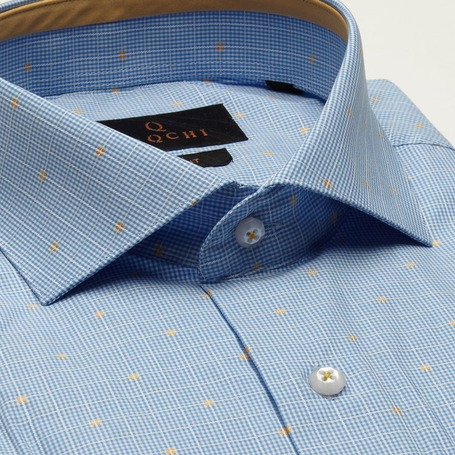 SLIM FIT LONG SLEEVE BLUE CHECKERED WASHINGTON COTTON SHIRT