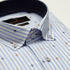 SLIM FIT LONG SLEEVE WHTIE STRIPE COPENHAGEN SHIRT