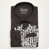 SLIM FIT LONG SLEEVE BLACK PRINTED ANTWERP COTTON SHIRT