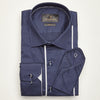 SLIM FIT LONG SLEEVE NAVY MELBOURNE COTTON SHIRT