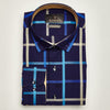 SLIM FIT LONG SLEEVE NAVY BOSTON COTTON SHIRT