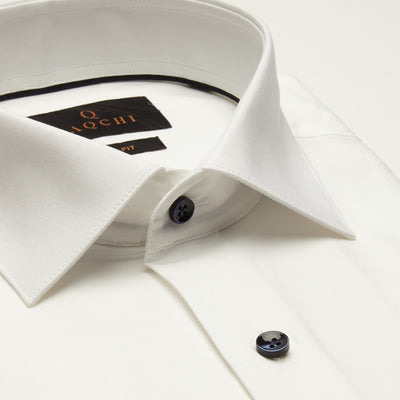 SLIM FIT LONG SLEEVE WHITE CANNES COTTON SHIRT