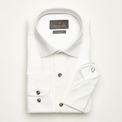 SLIM FIT LONG SLEEVE WHITE ZAGREB COTTON SHIRT