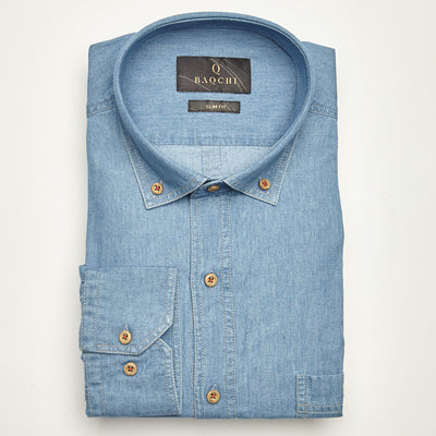 SLIM FIT LONG SLEEVE DENIM TEXAS COTTON SHIRT