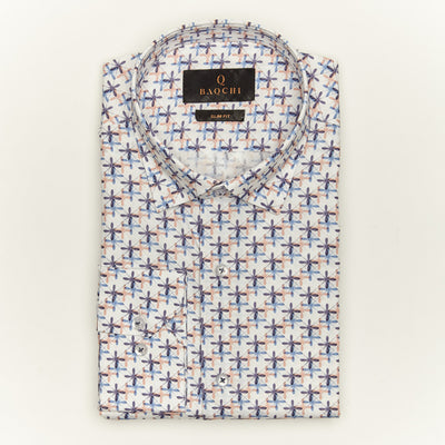 SLIM FIT LONG SLEEVE PRINTED SAVANNAH COTTON SHIRT