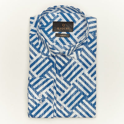SLIM FIT LONG SLEEVE BLUE PRINTED HONOLULU COTTON SHIRT