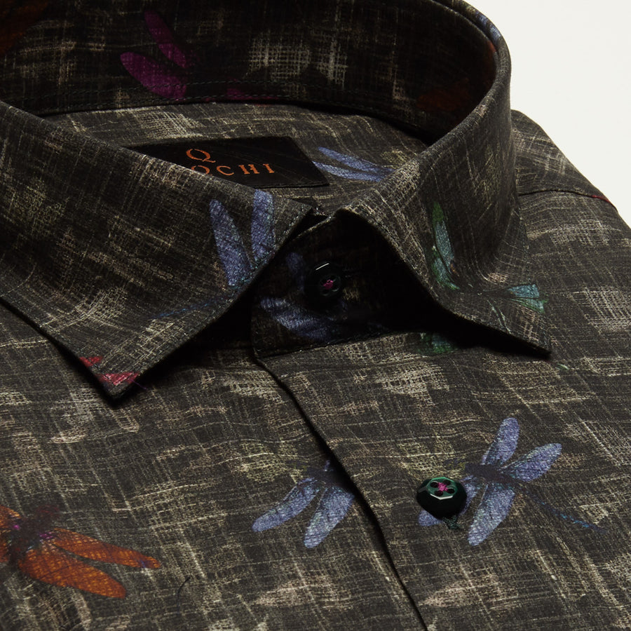 SLIM FIT LONG SLEEVE DRAGON FLY PRINTED GREY CHARLESTON COTTON SHIRT