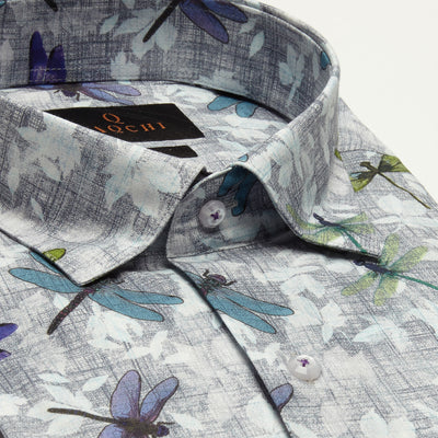 SLIM FIT LONG SLEEVE DRAGON FLY PRINTED GREY NEW ORLEANS COTTON SHIRT