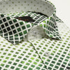 SLIM FIT LONG SLEEVE GREEN PRINTED MACAU COTTON SHIRT