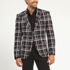 BLACK WINDOWPANE PLAID TWO BUTTON SUIT JACKET