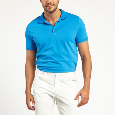 SHORT SLEEVE TURQUOISE KNIT COTTON POLO