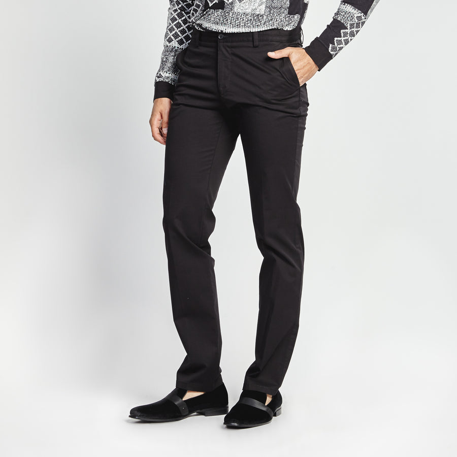 STRAIGHT FIT CASUAL BLACK PANT