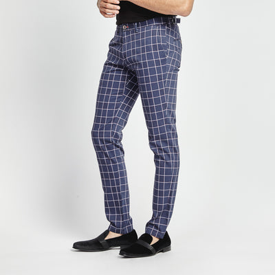 SLIM FIT NAVY GRID CHECK DESIGN POCKET PANT