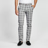 SLIM FIT GREY PLAID PRINT POCKET PANT