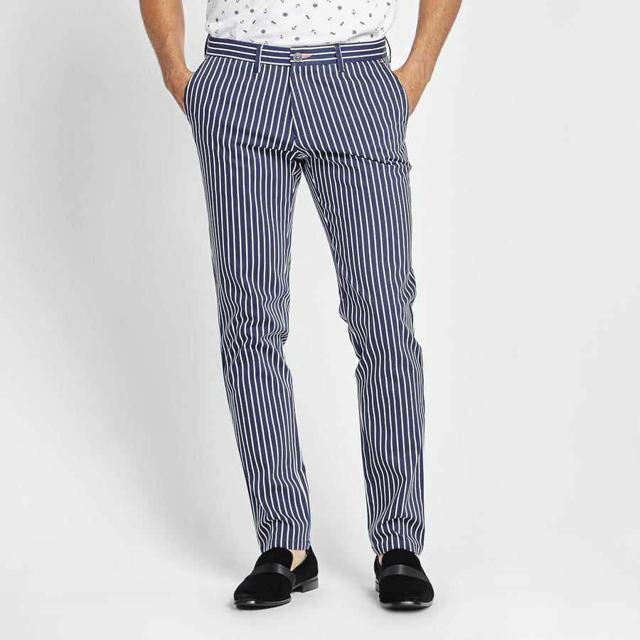 SLIM FIT NAVY PINSTRIPE POCKET PANT