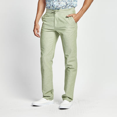 STRAIGHT FIT GREEN LINEN WAIST TIE POCKET PANT