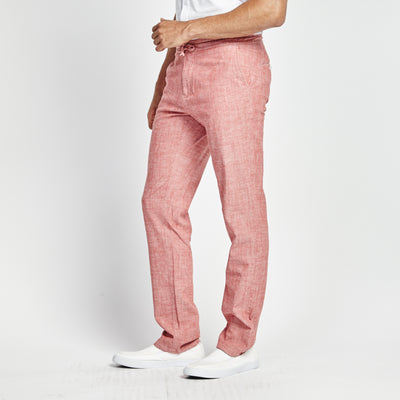 STRAIGHT FIT RED LINEN WAIST TIE POCKET PANT