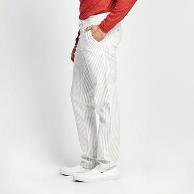 STRAIGHT FIT PINSTRIPE WAIST TIE POCKET PANT