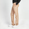 STRAIGHT FIT BROWN LINEN WAIST TIE POCKET PANT