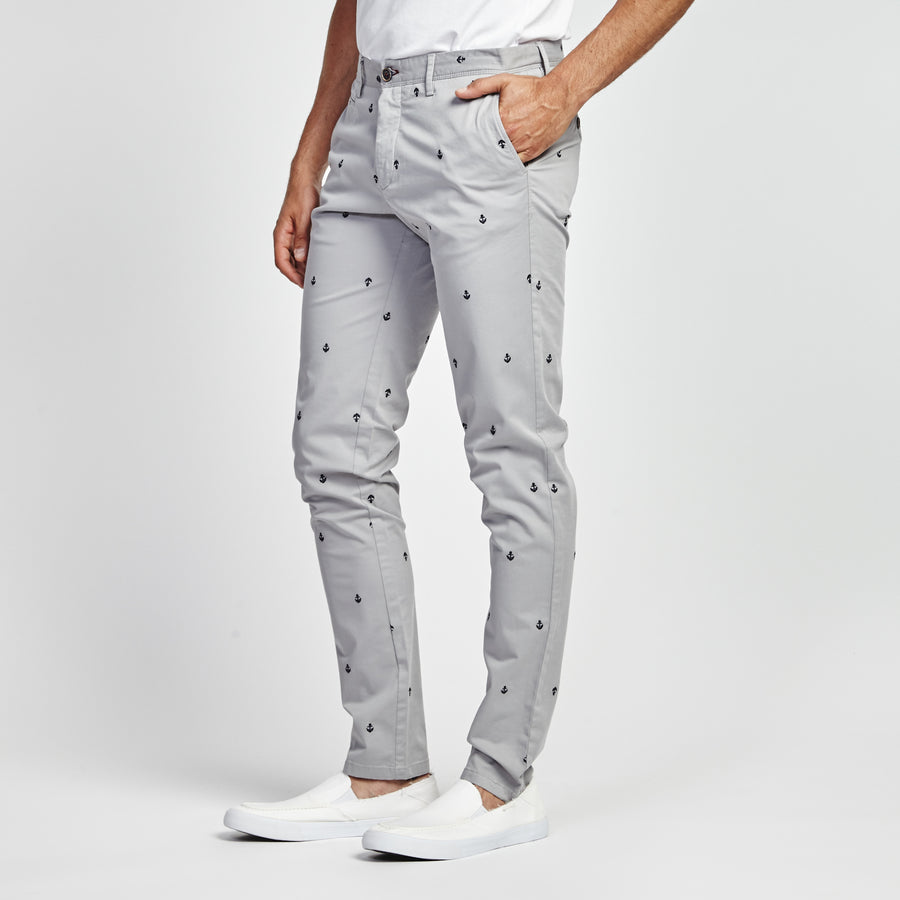 STRAIGHT GRAY ANCHOR PRINT POCKET PANT