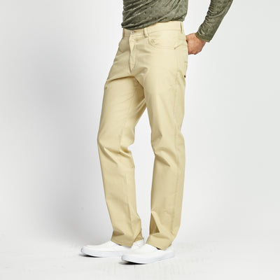 STRAIGHT FIT KHAKI STITCHED POCKET PANT