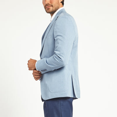 LIGHT BLUE PINSTRIPED TWO BUTTON SUIT JACKET