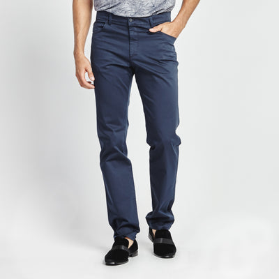STRAIGHT FIT NAVY SIDE STITCH POCKET PANT