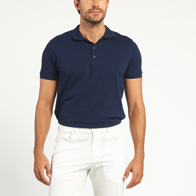 SHORT SLEEVE LACIVERT BLUE KNIT COTTON POLO