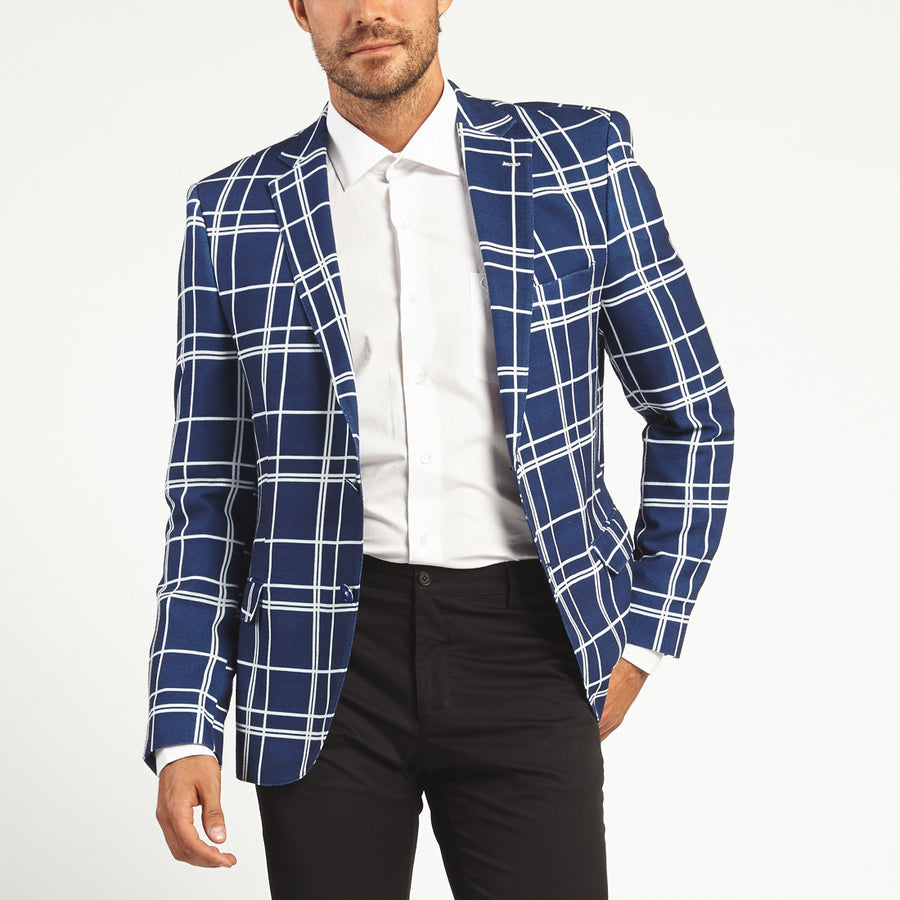 BLUE WINDOWPANE PLAID TWO BUTTON SUIT JACKET