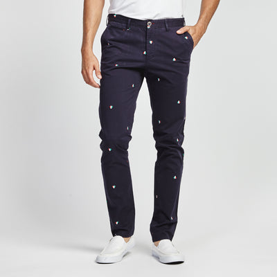 STRAIGHT-FIT NAVY ITALIAN HEART PRINT POCKET PANT