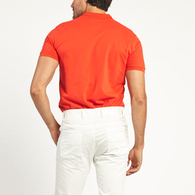 SHORT SLEEVE CORAL KNIT COTTON POLO